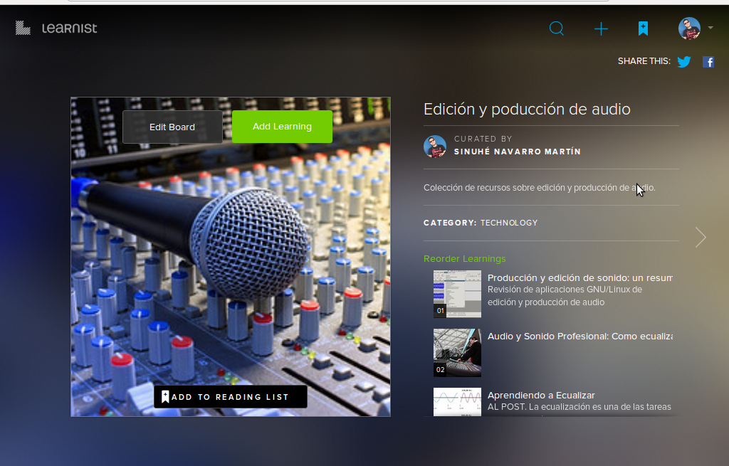 Aspecto visual del contenido desde la aplicación web